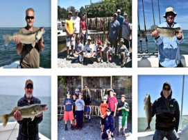 A group of anglers show off their catches