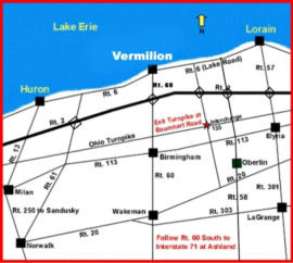 Map showing Vermilion, OH and other nearby cities on Lake Erie